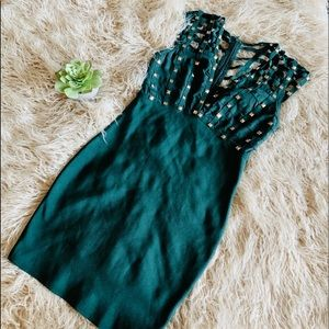 Sold Green Caged Bodycon Mini Dress gold Studs Sm